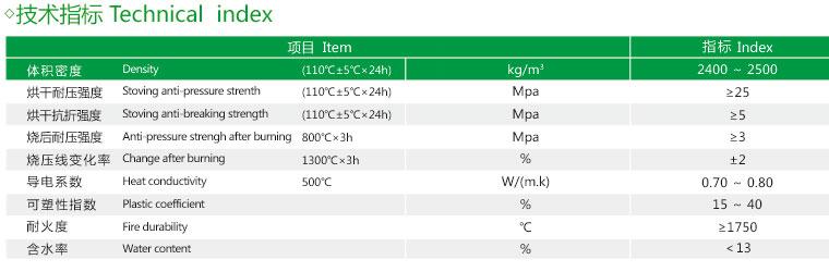 磷酸盐高铝质耐火可塑料